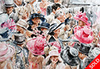 Ascot People 22 x 25 inch Water Colour by Gordon King